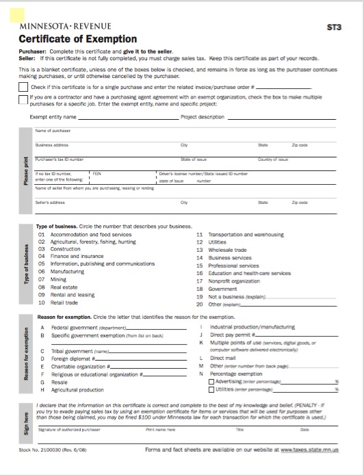 Minnesota Certificate of Tax Exemption Form